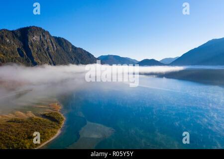 Fog at Lake Sylvenstein, Sylvenstein Dam, drone image, Lenggries, Isarwinkel, Upper Bavaria, Bavaria, Germany - Stock Photo