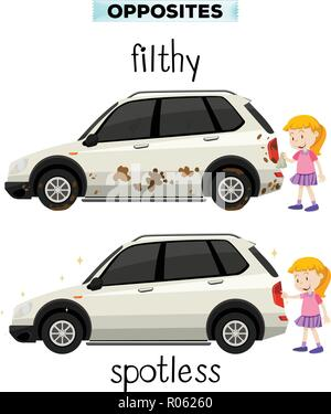 English opposite word filthy and spotless illustration - Stock Photo
