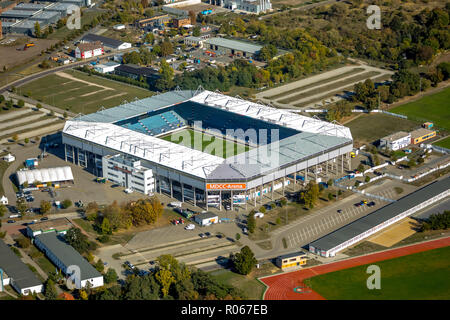 Aerial view, MDCC Arena, football stadium, 1. FC Magdeburg e. V., Brückfeld, Magdeburg, Saxony-Anhalt, Germany, DEU, Europe, aerial view, birds-eyes v - Stock Photo