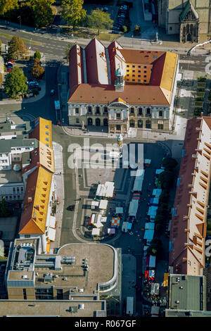 Aerial view, Magdeburg city hall, Magdeburg city council, marketplace, Magdeburg old town, Magdeburg, Saxony-Anhalt, Germany, DEU, Europe, aerial view - Stock Photo