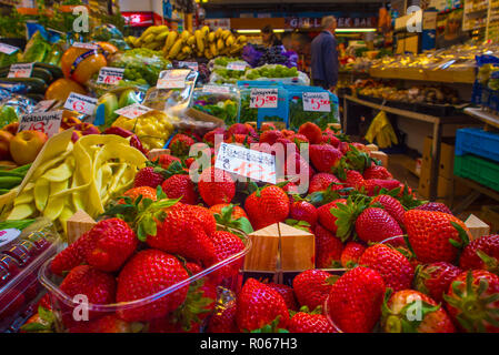 Stalls of fresh fruit from the indoor market in the city of Wroclaw, Poland. - Stock Photo
