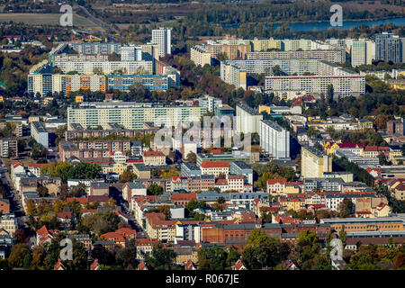 Aerial View, Housing Development New Olvenstedt, Magdeburg, Sachsen-Anhalt, Germany, DEU, Europe, aerial view, birds-eyes view, aerial photography, ae - Stock Photo