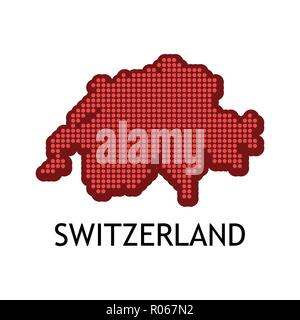 Swiss contour map in color of national flag - Vector illustration with Title and Slogan on dark blue background. - Stock Photo