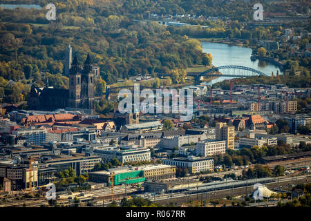 Aerial view, view of the old town of Magdeburg with Elbe, Magdeburg old town, Magdeburg, Saxony-Anhalt, Germany, DEU, Europe, aerial view, birds-eyes  - Stock Photo