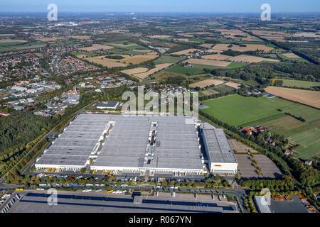 Aerial view, logistics company Gießerstraße, DHL, warehouses, Alte Heide, Königsborn, Unna, Ruhr area, North Rhine-Westphalia, Germany, logistics comp - Stock Photo