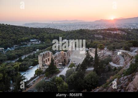 Odeon of Herodes Atticus Theatre at sunset, Acropolis, UNESCO World Heritage Site, Athens, Attica Region, Greece, Europe - Stock Photo