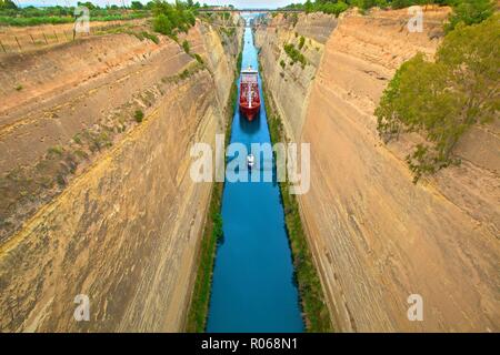 Corinth Canal, Corinth, The Peloponnese, Greece, Europe - Stock Photo