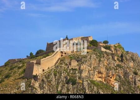Palamidi Fortress, Old Town of Nafplio, Argolis, The Peloponnese, Greece, Europe - Stock Photo