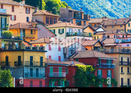 Typical architecture of colorful houses, Varenna, Lake Como, Lecco province, Lombardy, Italian Lakes, Italy, Europe - Stock Photo