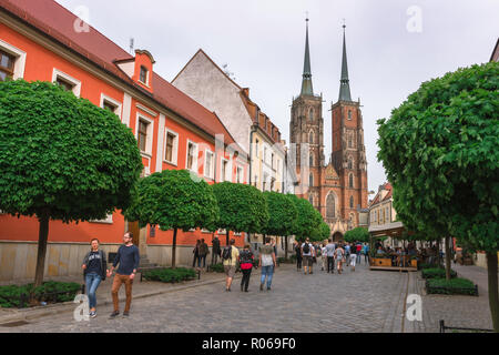 Tumski Island cathedral, view along Katedralny towards the twin towered west end of St John the Baptist Cathedral on Tumski Island, Wroclaw, Poland. - Stock Photo