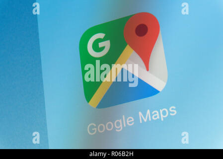 Google Maps App on cellphone screen - Stock Photo