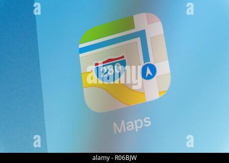 Apple Maps App on cellphone screen - Stock Photo