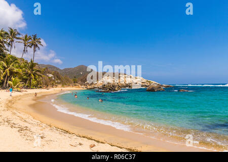 A view of the Caribbean beach at Cabo San Juan in Tayrona National Park, Colombia, South America - Stock Photo