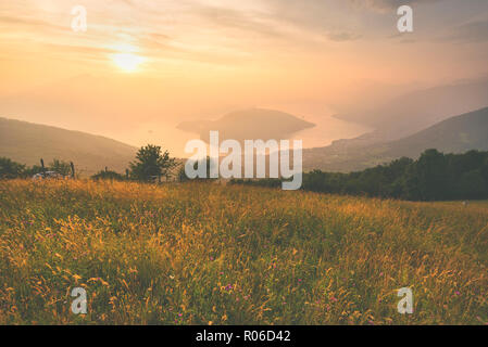 Montisola view from Colmi of Sulzano, Brescia province, Lombardy district, Italy, Europe - Stock Photo
