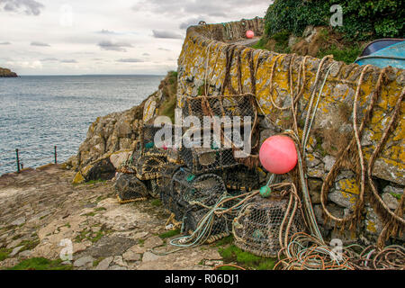 Lobster Pots at Saints Bay, Guernsey. - Stock Photo