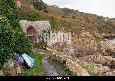 Saints Bay Harbour, Guernsey. - Stock Photo