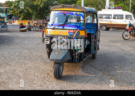 JAIPUR, INDIA - CIRCA NOVEMBER 2017: Auto rikshaw in street of India - Stock Photo