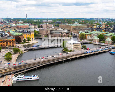 Sweden Stockholm. Wonderful aerial panorama from observation deck on tower City Hall to Gamla Stan (Old Town) - Stock Photo