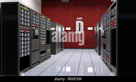 Server room, data center with computer servers in racks, computer facility data storage, 3D rendering - Stock Photo