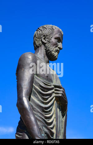 Statue of Zeno of Kition, founder of the stoic school of philosophy, Europe square, Larnaca, Cyprus October 2018 - Stock Photo
