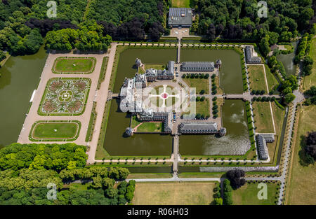Aerial view, water castle, moaded castle, baroque castle Nordkirchen in the Münsterland, baroque garden, northern German churches, Ruhr area, North Rh - Stock Photo