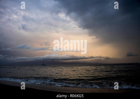 Dramatic Sky Sunset Seascape Reflecting on Rough Ocean Surface as Hurricane Storm Approaches Island - Stock Photo