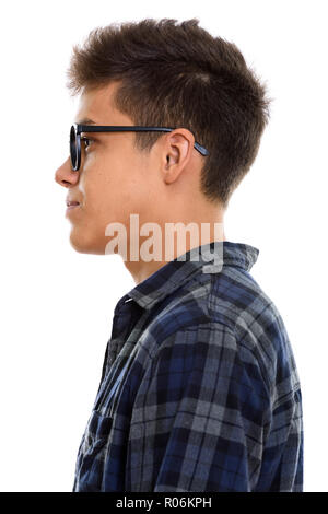 Close up profile view of young handsome man - Stock Photo
