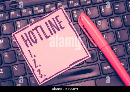 Word writing text Hotline. Business concept for Direct telephone line set up for specific purpose emergencies. - Stock Photo