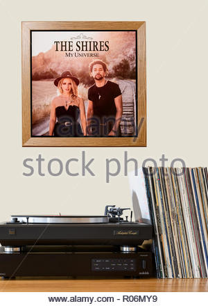 Record player and framed album cover The Shires 2016 2nd album My Universe, England - Stock Photo