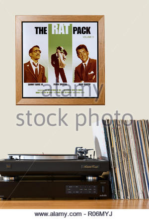 Record player and framed album cover The Rat Pack best of album, England - Stock Photo