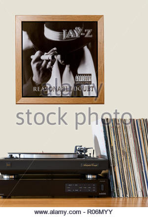 Record player and framed album cover Jay Z  1996 debut album Reasonable Doubt., England - Stock Photo