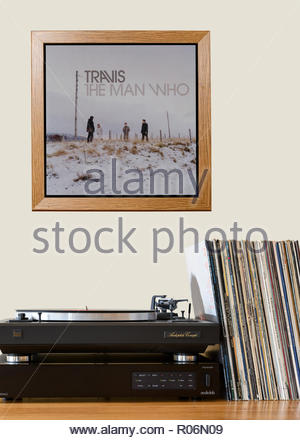 Record player and framed album cover Travis 1999 2nd album  The Man Who, England - Stock Photo