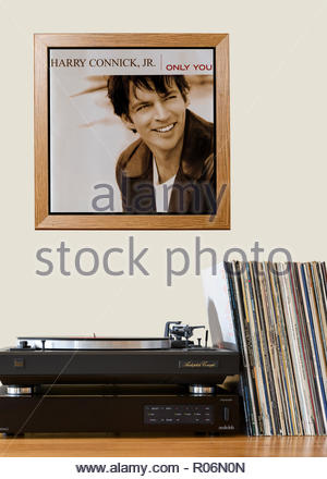 Record player and framed album cover Harry Connick Jr.  2004 album Only You, England - Stock Photo