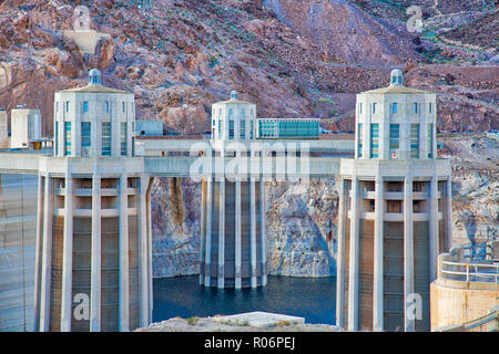 Hoover Dam Power Towers and Reservoir - Stock Photo