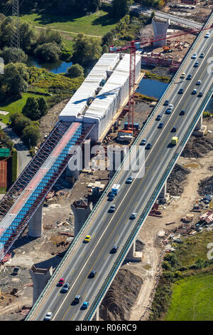 Aerial view, construction site new construction Lennetalbrücke, A45, Am Kahlenberg, Lenne, Hagen, Ruhr area, North Rhine-Westphalia, Germany, Europe,  - Stock Photo