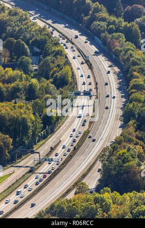 Luftbild, Autobahn A45 Nähe Kreuz Hagen, Hagen, Ruhrgebiet, Nordrhein-Westfalen, Deutschland, Europa, DEU, birds-eyes view, Luftaufnahme, Luftbildfoto - Stock Photo