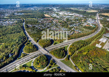 Luftbild, Kreuz Hagen A45, A46, Hagen, Ruhrgebiet, Nordrhein-Westfalen, Deutschland, Europa, DEU, birds-eyes view, Luftaufnahme, Luftbildfotografie, L - Stock Photo