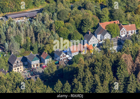 Aerial view, German blacksmith museum, zinc rolling mill, half timbered houses, Mäckingerbach Schmalsgotte, Hagen, Ruhr area, North Rhine-Westphalia,  - Stock Photo