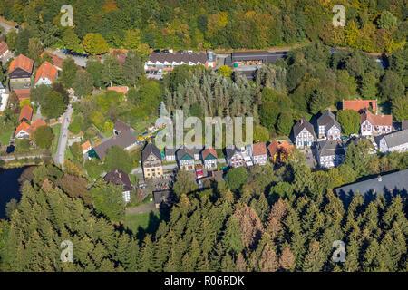Aerial view, German blacksmith museum, zinc rolling mill, half timbered houses, Mäckingerbach Schmalsgotte, Hagen, Ruhr area, North Rhine-Westphalia,  - Stock Photo