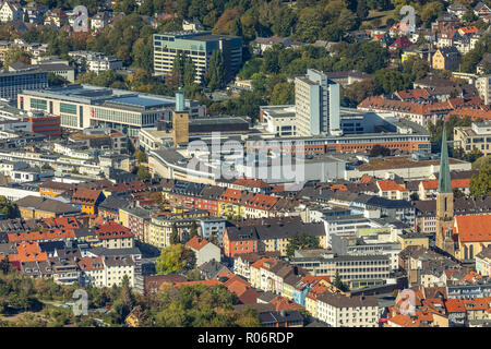 Aerial view, Hagen city center, St.Marien Catholic parish, Mariengasse, Osthaus Museum, Randstad Hagen, Hagen, Ruhr area, North Rhine-Westphalia, Germ - Stock Photo
