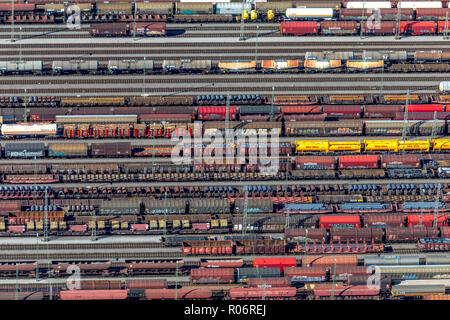 Aerial view, Hagen-Vorhalle marshalling yard, train wagons, freight trains, Hagen, Ruhr area, North Rhine-Westphalia, Germany, Europe, DEU, birds-eyes - Stock Photo