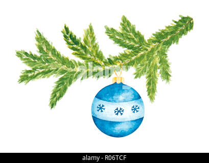 Christmas Evergreen Fir Tree with Blue Glass Ball. Watercolor Hand Drawn and Painted. Isolated on White - Stock Photo