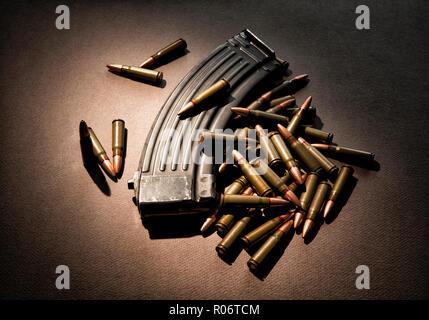 High capacity 30 round ammunition magazine with live ammunition. - Stock Photo