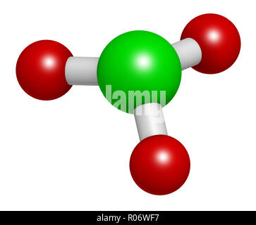 Chlorate anion, chemical structure. 3D rendering. Atoms are represented as spheres with conventional color coding: chlorine (green), oxygen (red). - Stock Photo