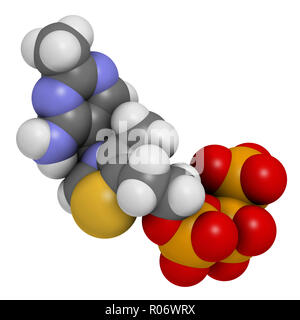 Thiamine triphosphate molecule. 3D rendering. Atoms are represented as spheres with conventional color coding: hydrogen (white), carbon (grey), oxygen - Stock Photo