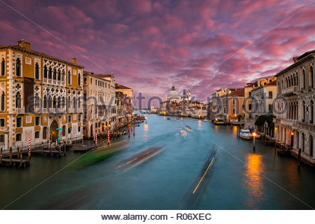 Venice, Italy. Grand Canal and the Salute at sunset. View from Ponte dell Accademia - Stock Photo