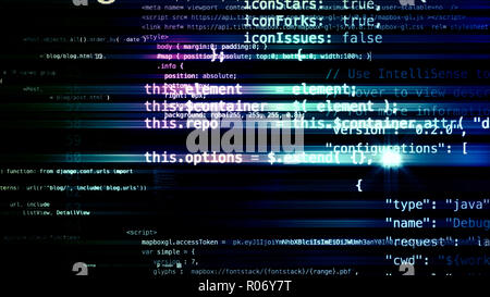 3D rendering abstract blocks of code that are in the virtual space. Camera inside the computer code - Stock Photo