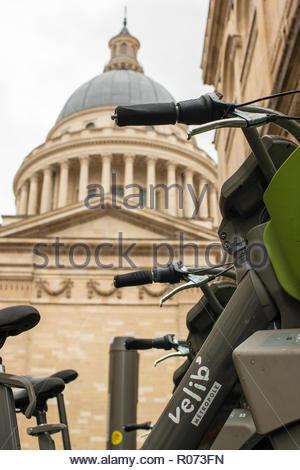 Paris (France), October 30, 2018. Vélib station, self-service bike, next to the Pantheon in Paris. - Stock Photo