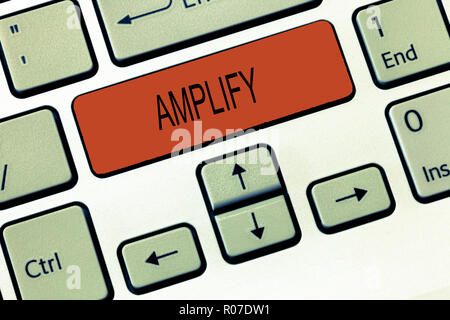 Word writing text Amplify. Business concept for Make something bigger louder increase the volume using amplifier. - Stock Photo