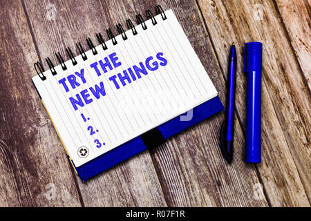 Conceptual hand writing showing Try The New Things. Business photo text Breaks up Life Routine Learn some Innovative Skills. - Stock Photo